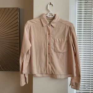 UO Corduroy Crop Pale Pink Button-Down Top